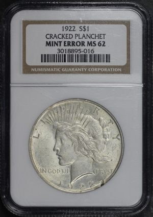 Obverse of this 1922 Peace Dollar NGC MS-62 MINT ERROR Cracked Planchet