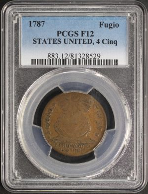 Obverse of this 1787 Colonial STATES UNI, 4 Cinq PCGS F-12 BN