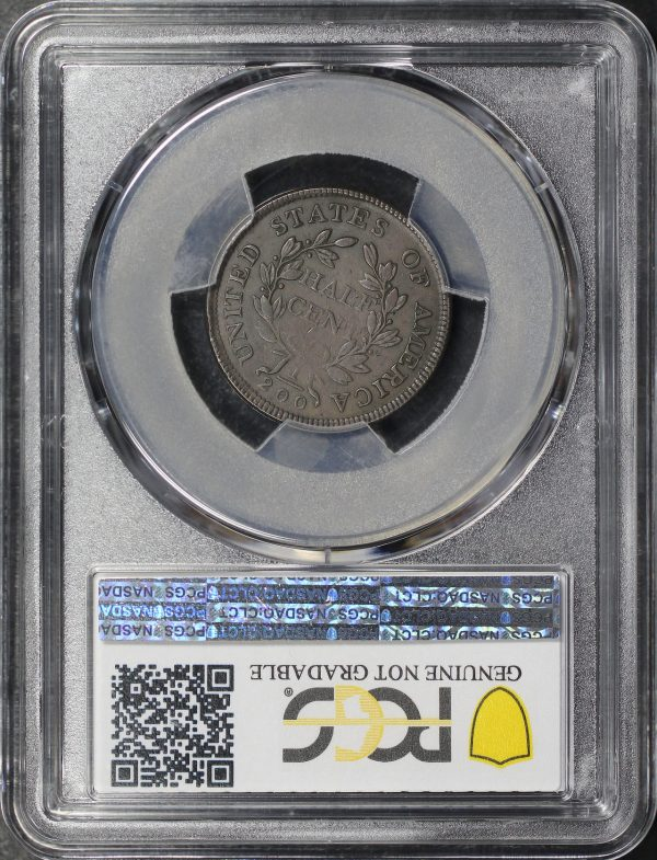 Reverse of this 1804 Draped Bust Half Cent Plain 4, Stems PCGS XF Details Altered Surface