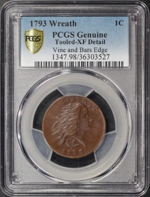 Obverse of this 1793 Flowing Hair Large Cent Vine and Bars Edge PCGS Genuine