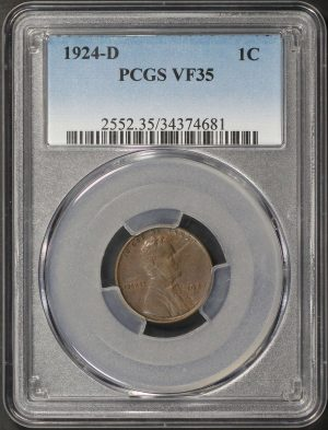 Obverse of this 1924-D Lincoln Cent Wheat Reverse PCGS VF-35 BN