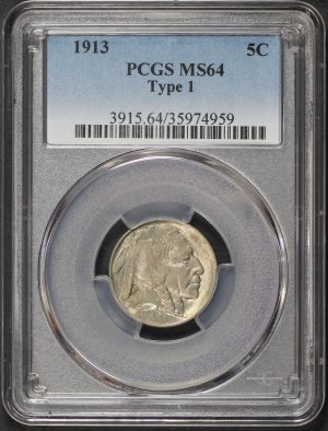 Obverse of this 1913 Buffalo Nickel Type 1 PCGS MS-64