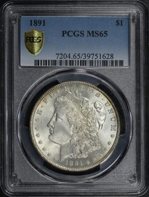 Obverse of this 1891 Morgan Dollar PCGS MS-65