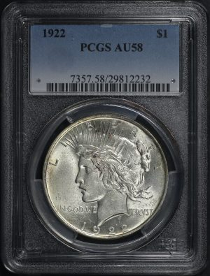 Obverse of this 1922 Peace Dollar PCGS AU-58