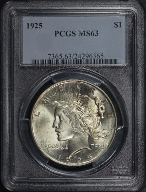 Obverse of this 1925 Peace Dollar PCGS MS-63