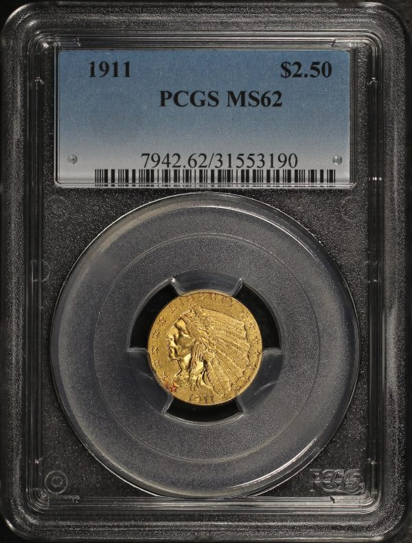 Obverse of this 1911 Indian $2.5 PCGS MS-62