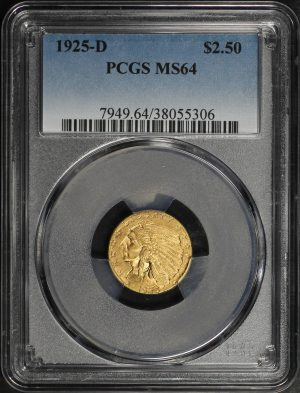 Obverse of this 1925-D Indian $2.5 PCGS MS-64