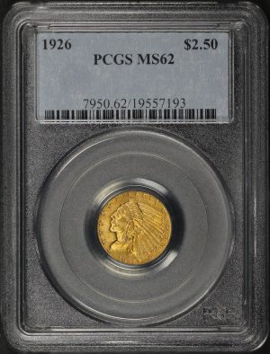 Obverse of this 1926 Indian $2.5 PCGS MS-62