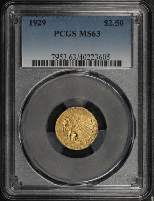 Obverse of this 1929 Indian $2.5 PCGS MS-63