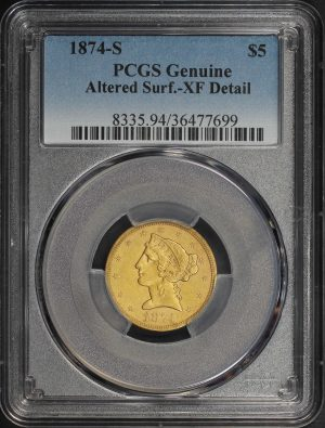 Obverse of this 1874-S Liberty Head $5 PCGS Genuine