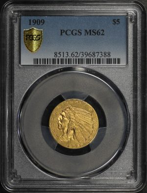 Obverse of this 1909 Indian $5 PCGS MS-62