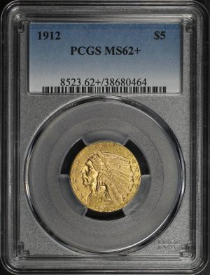 Obverse of this 1912 Indian $5 PCGS MS-62+