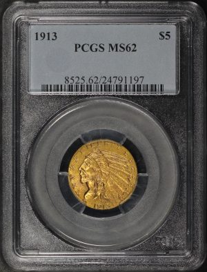 Obverse of this 1913 Indian $5 PCGS MS-62