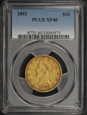 Obverse of this 1893 Liberty Head $10 PCGS XF-40