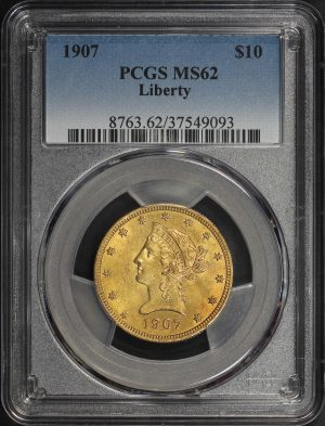 Obverse of this 1907 Liberty Head $10 PCGS MS-62