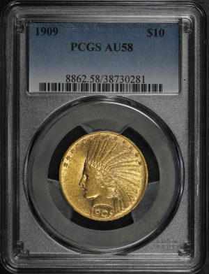 Obverse of this 1909 Indian $10 Motto PCGS AU-58