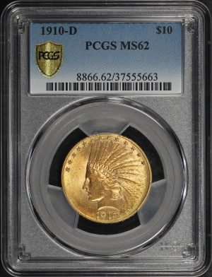 Obverse of this 1910-D Indian $10 Motto PCGS MS-62
