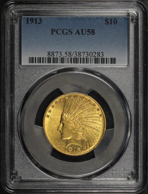 Obverse of this 1913 Indian $10 Motto PCGS AU-58