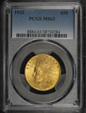 Obverse of this 1932 Indian $10 Motto PCGS MS-63