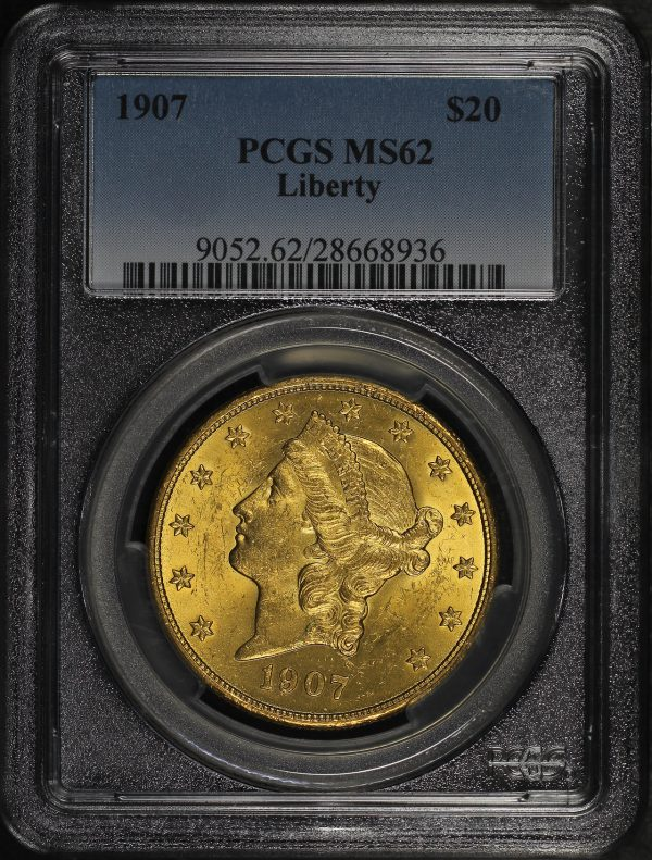 Obverse of this 1907 Liberty Head $20 Type 3 Liberty PCGS MS-62