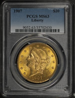 Obverse of this 1907 Liberty Head $20 Type 3 Liberty PCGS MS-63