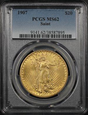 Obverse of this 1907 St. Gaudens $20 Saint PCGS MS-62