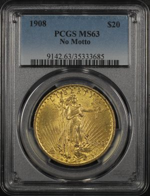 Obverse of this 1908 St. Gaudens $20 No Motto PCGS MS-63