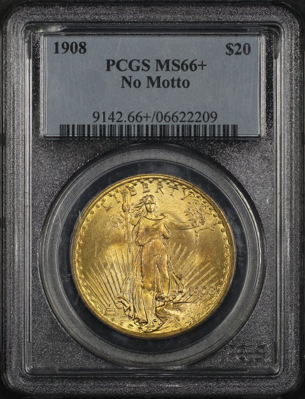 Obverse of this 1908 St. Gaudens $20 No Motto PCGS MS-66+