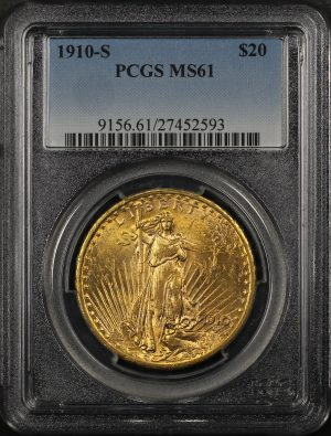 Obverse of this 1910-S St. Gaudens $20 PCGS MS-61