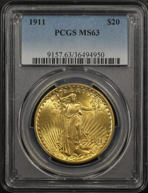 Obverse of this 1911 St. Gaudens $20 PCGS MS-63