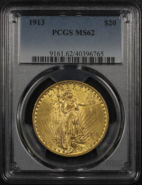 Obverse of this 1913 St. Gaudens $20 PCGS MS-62