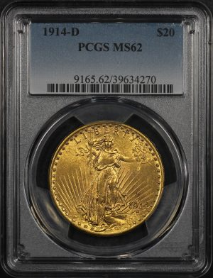 Obverse of this 1914-D St. Gaudens $20 PCGS MS-62