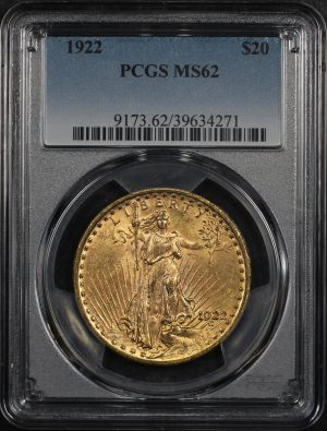 Obverse of this 1922 St. Gaudens $20 PCGS MS-62