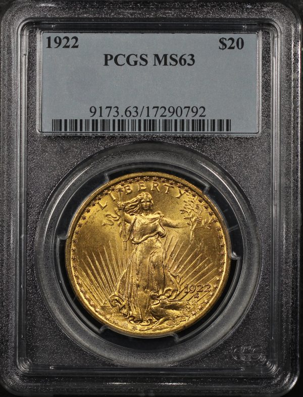 Obverse of this 1922 St. Gaudens $20 PCGS MS-63