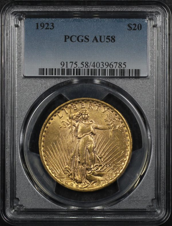 Obverse of this 1923 St. Gaudens $20 PCGS AU-58