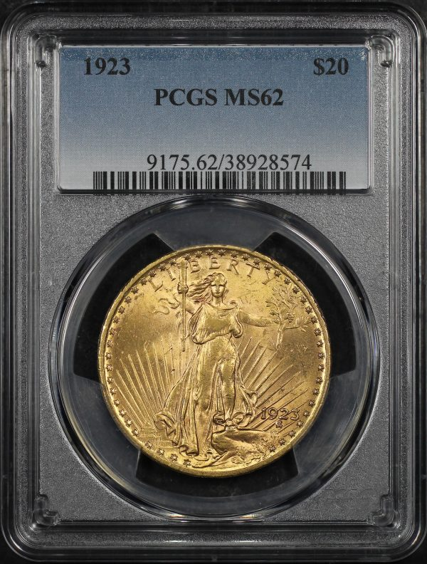 Obverse of this 1923 St. Gaudens $20 PCGS MS-62