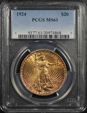 Obverse of this 1924 St. Gaudens $20 PCGS MS-61