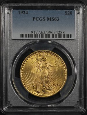 Obverse of this 1924 St. Gaudens $20 PCGS MS-63