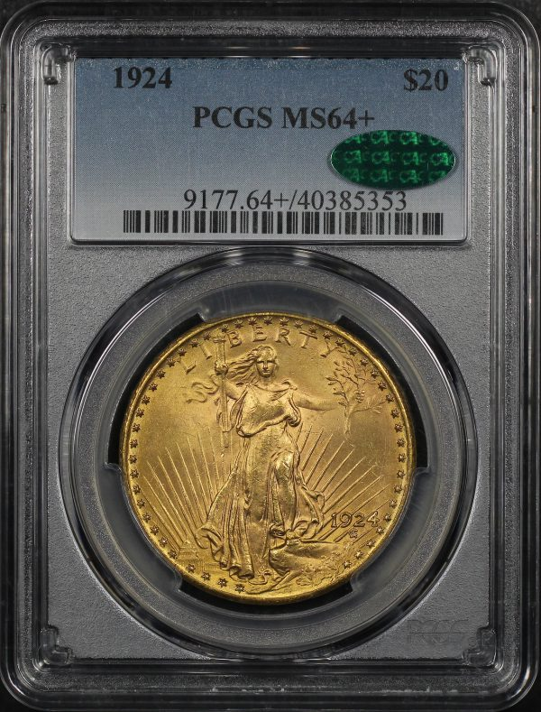 Obverse of this 1924 St. Gaudens $20 PCGS MS-64+ CAC
