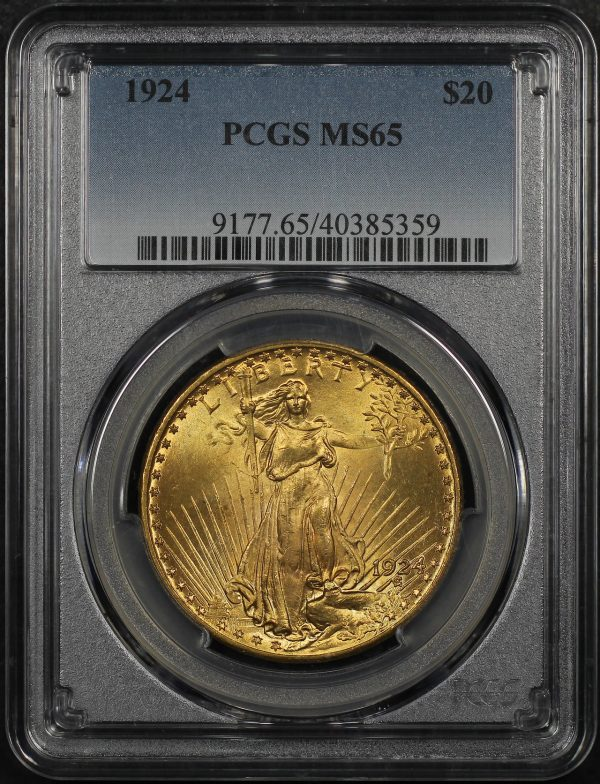 Obverse of this 1924 St. Gaudens $20 PCGS MS-65
