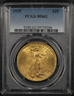 Obverse of this 1925 St. Gaudens $20 PCGS MS-62