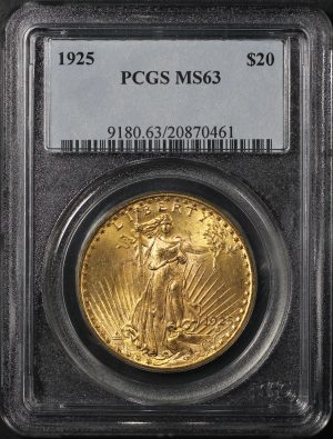 Obverse of this 1925 St. Gaudens $20 PCGS MS-63