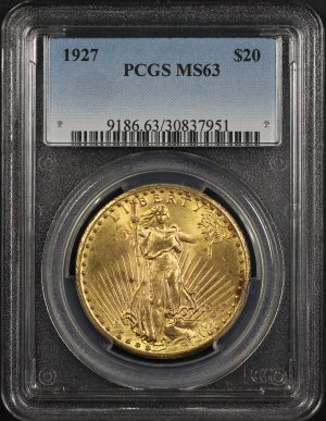 Obverse of this 1927 St. Gaudens $20 PCGS MS-63