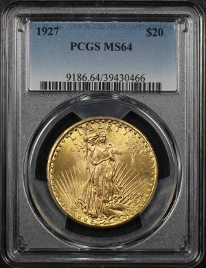 Obverse of this 1927 St. Gaudens $20 PCGS MS-64