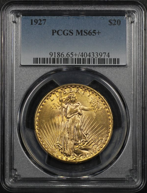 Obverse of this 1927 St. Gaudens $20 PCGS MS-65+