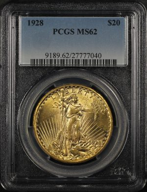 Obverse of this 1928 St. Gaudens $20 PCGS MS-62