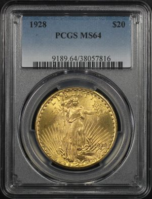 Obverse of this 1928 St. Gaudens $20 PCGS MS-64