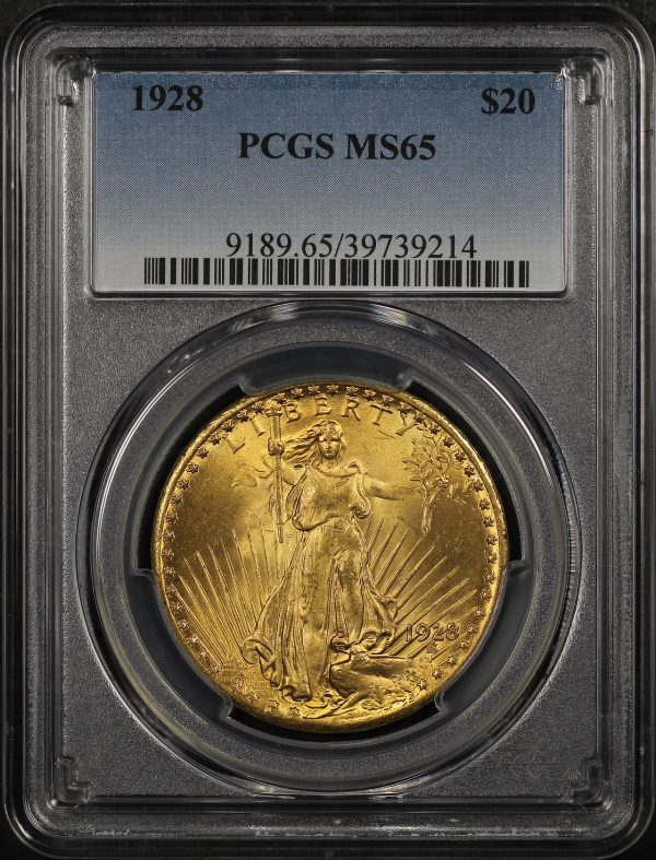 Obverse of this 1928 St. Gaudens $20 PCGS MS-65