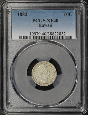 Obverse of this 1883 Hawaii Dime PCGS XF-40