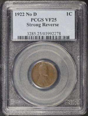 Obverse of this 1922-D Lincoln Cent Wheat Reverse Strong Reverse PCGS VF-25 BN